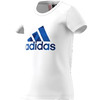 Adidas Girls Logo T-Shirt - White/Blue