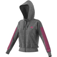 Adidas Womens Ess 3S Full Zip Hoodie - Grey/Magenta