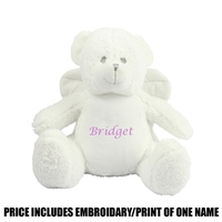Mumbles Personalised Angel Bear - White