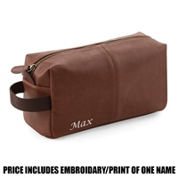 Quadra Personalised NuHide Wash Bag - Tan