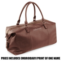 Quadra Personalised NuHide Weekender Bag - Tan
