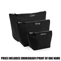 Westford Mill Personalised Canvas Accessory Bag - Black