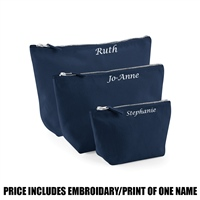Westford Mill Personalised Canvas Accessory Bag - Navy