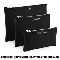 Westford Mill Personalised Canvas Accessory Pouch - Black