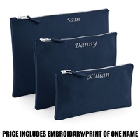 Westford Mill Personalised Canvas Accessory Pouch - Navy