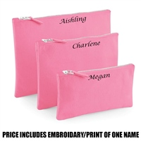 Westford Mill Personalised Canvas Accessory Pouch - Pink