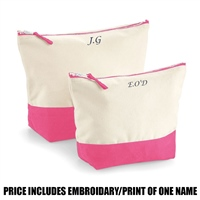 Westford Mill Personalised Dipped Base Accessory Bag - Pink