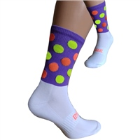 Briga Polka Dot Silly Socks - Purple/Orange/Yellow