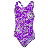 Speedo Girls Boom Allover SPBK Swimsuit - Purple/Green