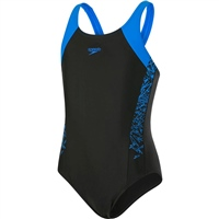 Speedo Girls Boom SPL MuscleBack Swimsuit - Black/Blue