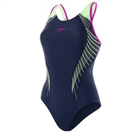 Speedo Womens FIT LNBK Swimsuit - Navy/Green