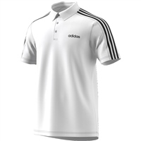 Adidas Mens D2M 3S Polo - White/Black