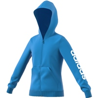Adidas Girls Linear Full Zip Hoodie - Sky/White