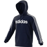 Adidas Mens PullOver 3S Fleece Hoodie - Navy/White