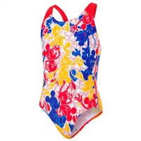 Speedo Allover Splashback V1 Girls Swimsuit - Blue/Red