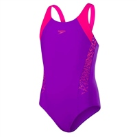 Speedo Girls Boom SPL MuscleBack Swimsuit - Purple/Pink