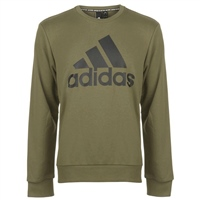 Adidas Mens Must Haves BOS Crew Sweat Top - KhakiGreen/Black