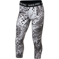 Nike Girls Pro All Over Print Capri - Grey/Black/White