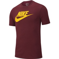 Nike Mens NSW Icon Futura T-Shirt - Maroon/Yellow