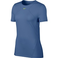 Nike Womens All Over Mesh S/S Top - Indigo Blue