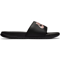 Nike Womens Benassi Just Do It Sliders - Black/Rose Gold