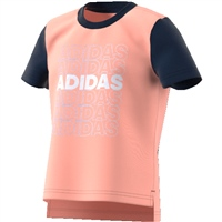 Adidas Little Girls Cotton T-Shirt - Pink/Navy