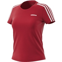 Adidas Womens Essential 3S T-Shirt - Red/White