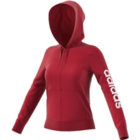 Adidas Womens Linear Full Zip Hoodie - Red/White