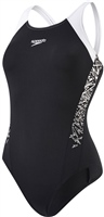 Speedo Boom Splace Muscleback Swimsuit - Black/White
