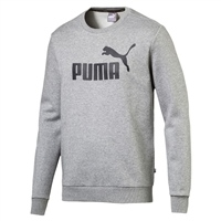 Puma Mens Logo Crew Sweat Top - Grey