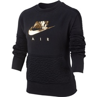 Nike Girls Air Fleece Top - Black/Gold