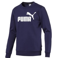 Puma Mens Logo Crew Sweat Top - Navy/White