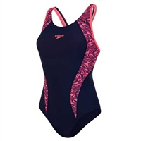 Speedo Womens FIT LNBK Swimsuit - Navy/Red