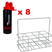 Precision Set x 8 Hygiene Water Bottles & Carrier - Black/Red