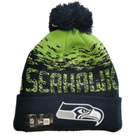 New Era Seattle Seahawks Official Bobble Hat - Navy/Green