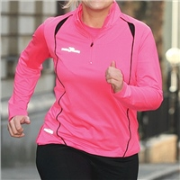 Precision Womens L/S 1/4 Zip Running Top - Pink/Black