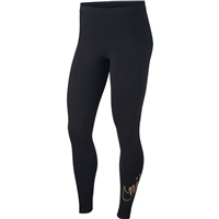 Nike Womens Sportswear Glitter Leggings - Black/Gold