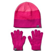 Under Armour Girls Beanie & Glove Combo - Pink