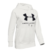 Under Armour WOMENS RIVAL FLEECE GRAPHIC HOODIE - WHITE