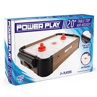POWER PLAY TABLE AIR HOCKEY GAME - 20 INCH - BROWN
