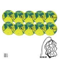 Precision 10 x Precision Fusion IMS Training Ball (Free Ball Net) - Fluo Yellow/Teal/Cyan/Red