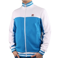 Fila MENS TIEBREAKER FUNNEL NECK TRACK TOP - BLUE/WHITE