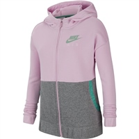 Nike GIRLS NSW AIR FT FZ HOODIE - PINK/JADE