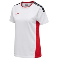 Hummel AUTHENTIC POLY JERSEY WOMAN S/S - WHITE/TRUE RED