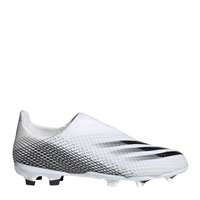 Adidas X GHOSTED LACELESS FG BOOTS - KIDS - WHITE/BLACK
