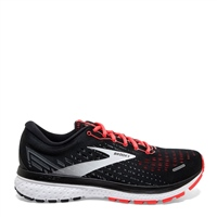 BROOKS WOMENS GHOST 13 - BLACK/EBONY/CORAL