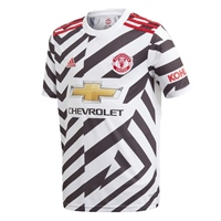 Adidas MANCHESTER UNITED 3RD JERSEY 2020 - KIDS - WHITE/BLACK