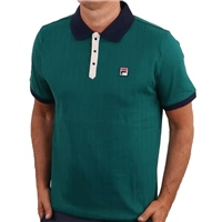 Fila MENS CLASSIC VINTAGE STRIPED POLO - GREEN/NAVY