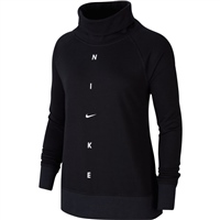 Nike WOMENS GET FIT FUNNEL CREW NECK - BLACK/WHITE