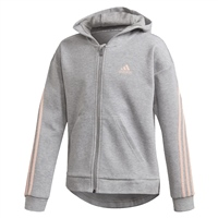 Adidas GIRLS 3 STRIPES FULL ZIP HOODIE - GREY/PINK